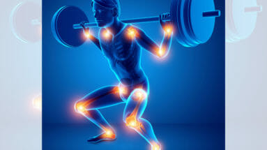 Illustration of man doing barbell squats with tendonitis joint pain