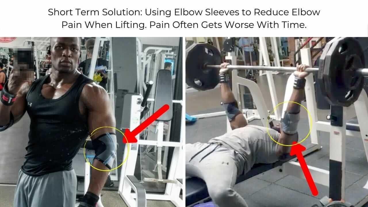 Nurudeen Tijani benching at gym. Wearing elbow sleeve for elbow injury pain.