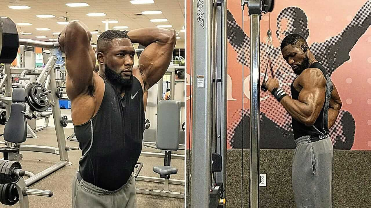 Nurudeen Tijani founder of TitaniumPhysique working out at gym with barbell and triceps cable machine