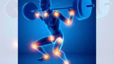 Illustration of weightlifter doing barbell squats with tendonitis inflammatory joint pain