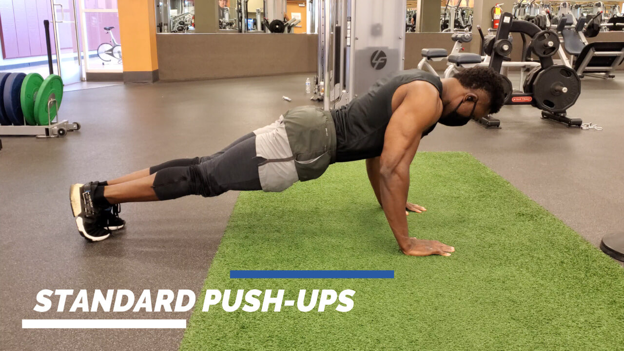 Nurudeen performing variation of push-ups exercise: standard push-ups, diamond push-ups, wide-arm push-ups